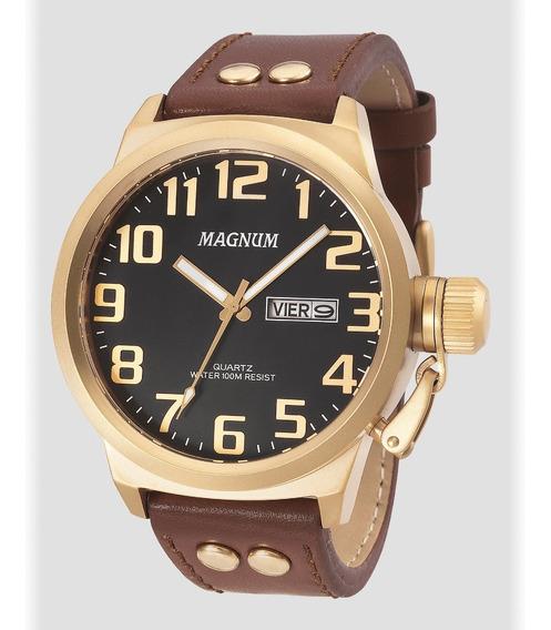Relógio Magnum Masculino Marrom/dourado Ma32952p