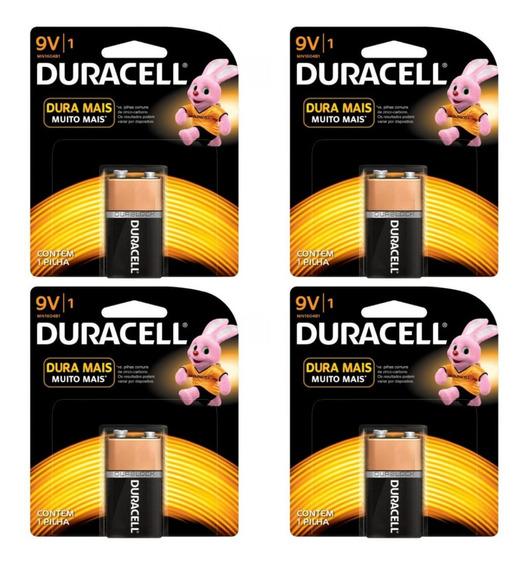 Bateria Pilha Duracell 9v Alcalina Combo C/4 Unidades