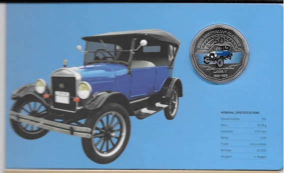 Moneda Australia Año 2017 Auto Ford Color En Estuche Elegir