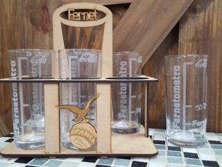 Set De 6 Vasos Fernetometros + Organizador