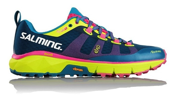 Zapatillas Salming Trail 5 Blue Yellow Running Mujer