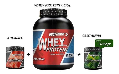 Whey Protein 3 Kg  + Glutamina + Arginina Body Advance