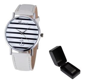 Relógio De Pulso Âncora Marinheiro Branco Com Caixa