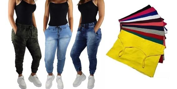 Kit 3 Calças Jeans Jogger Fem + Brinde Promo De Natal +frete