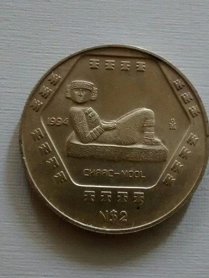 Moneda N$2 Nuevos Pesos Media Onza Plata Chaac Mool 1994