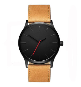 Relógio Casual Masculino Pulseira De Couro Preta Quartz Dj01