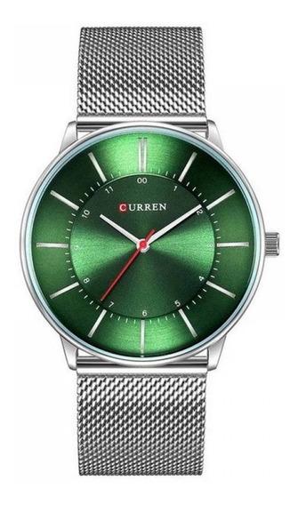 Relógio Unissex Curren Analógico 8303 - Prata E Verde