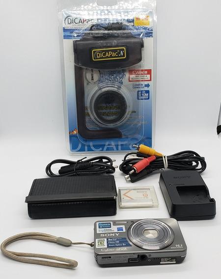 Kit Câmera Sony W570 Capa Aquática Bateria Extra Usado