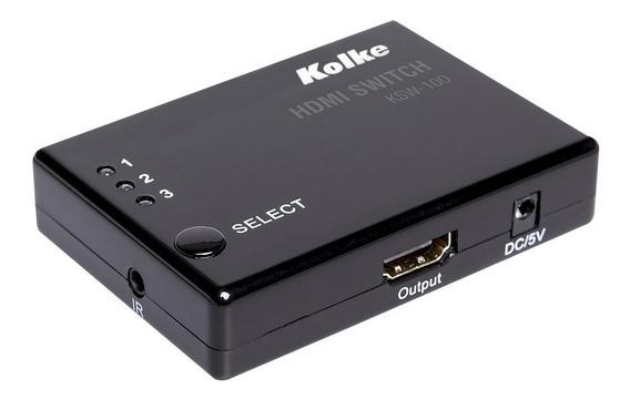 Switch Hdmi Kolke 3x1 C/control Remoto 3d 1.4a