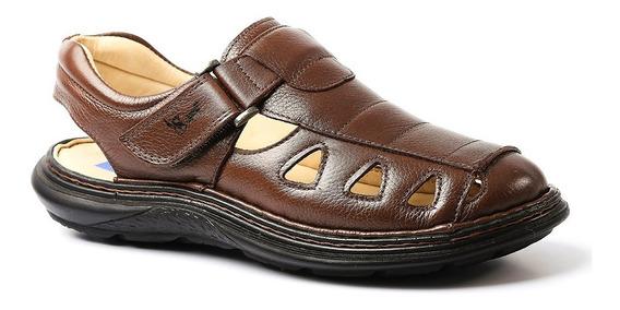 Sandália Masculina 917302 Em Couro Floater Café Doctor Shoes