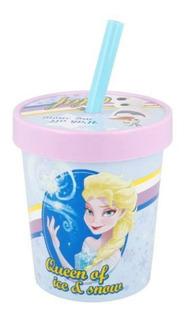 Vaso Pote Plastico De Helado Con Tapa Y Sorbete Frozen Elsa