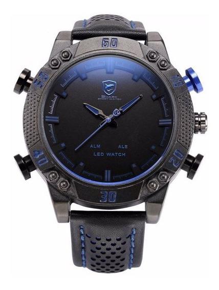 Relógio Masculino Shark Anadigi Sh-265 - Preto E Azul
