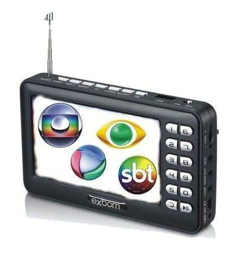 Mini Tv Digital Portátil Hd Tela 4,3 Rádio Fm Entrada Usb Sd