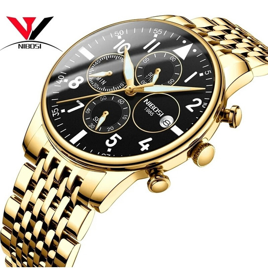 Relógio Masculino Nibosi Série Ouro 2368 Cronógrafo Promoção