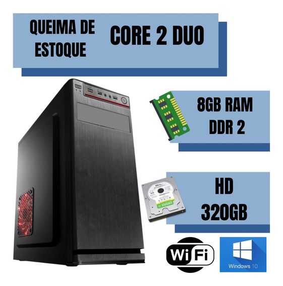 Cpu Montada Core 2 Duo 8gb Hd320 + Placa De Vídeo Win10 Nova