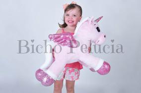 Unicórnio Pelúcia Gigante Bebê Fofinho Rosa 64cm