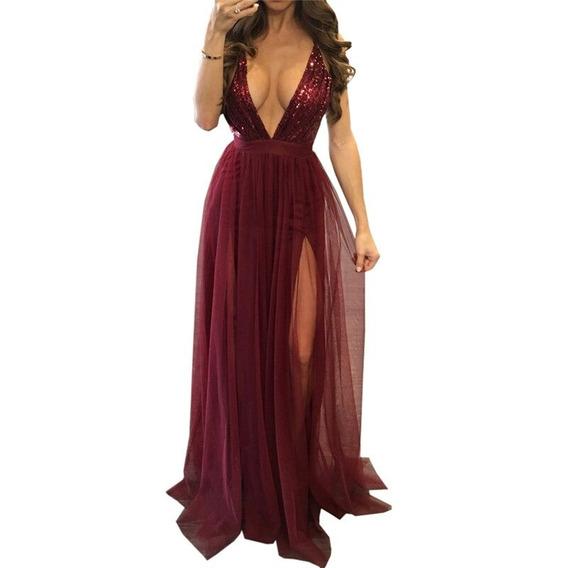 Vestido Largo De Noche Elegante Lentejuel Vino/ Envío Gratis
