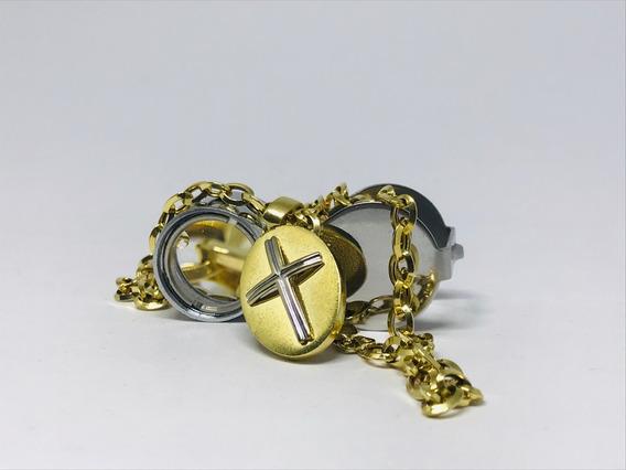 Colar Ouro 18k Elo Poutugues Oval Pringente Crucifixo Cruz