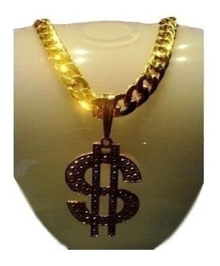 Corrente 70 Cm Folheada A Ouro - Pingente $ - Ostentação