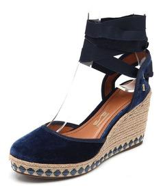 Sandália Santa Lolla Veludo Espadrille Azul Marinho