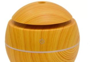 Humidificador Esencias Difusor Luminoso Simil Madera 10cm