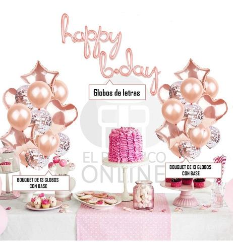 Kit Decoración Cumpleaños Mujer Oro Rosa