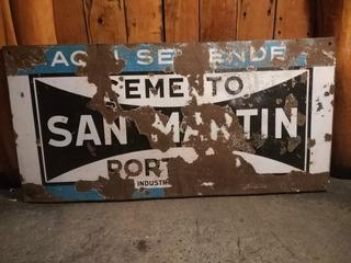 Cartel Enlozado De Cemento San Martin 98 Cm Por 50 Cm