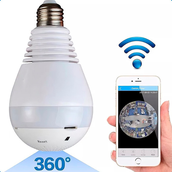 Lampara Wifi Led Ip Camara Hd 360° Ojo Pez Espia Graba 128gb