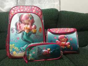 Mochila Escolar Kit Infantil Feminina Costas Princesa Sereia