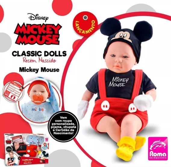 Boneco Mickey Bebê Reborn Recém Nascido Classic Dolls 5161