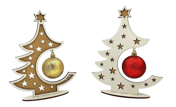 2 Mini Arvores De Natal Mdf Decoração Com Bolas Natalinas