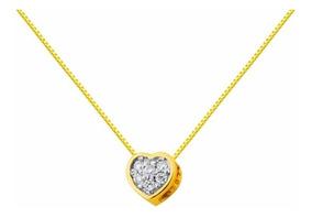 Colar Coração Ponto De Luz 18 Kilates E Diamantes De 1 Ponto