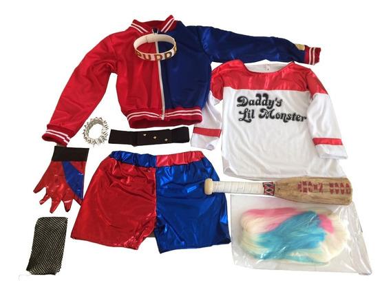 Disfraz Harley Quinn Lujo Niña Todos Accesorios Envío Gratis