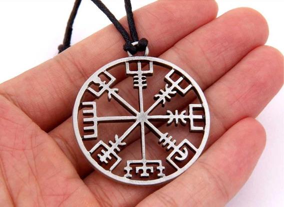 Colar Cordão Viking Runas Vegvisir Amuleto Nórdico Tribal