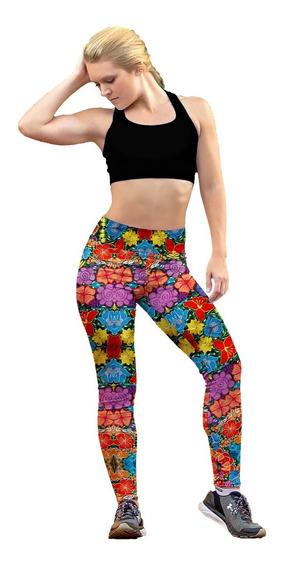 Leggin Dama Sublimado Licra Flores De Colores Gym Bi-estrech