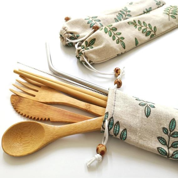 3 Sets De Cubiertos De Bambú Ecológicos Para Viaje
