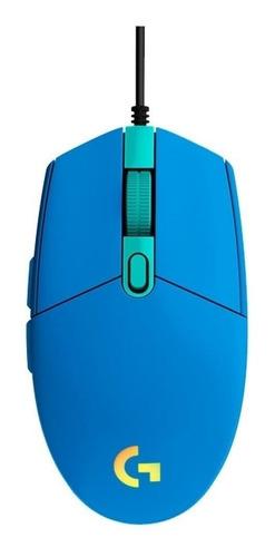 Imagen 1 de 3 de Mouse de juego Logitech  G Series Lightsync G203 azul