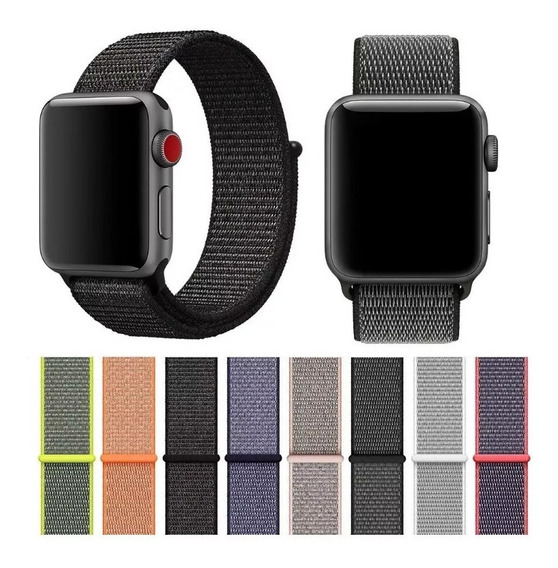 Kit 2 Pulseira Nylon Loop Cores Apple Watch Series 1 2 3 4