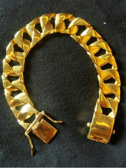 Pulseira Prata 950 Banhada A Ouro (grosa) Joia De Luxo