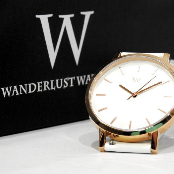 Reloj Análogo Wanderlust Esfera Blanca Correa Blanca