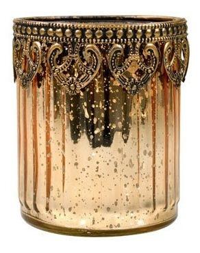 Castiçal De Vidro Copo Vela Decoração E Zamac Dourado 11x9,5cm
