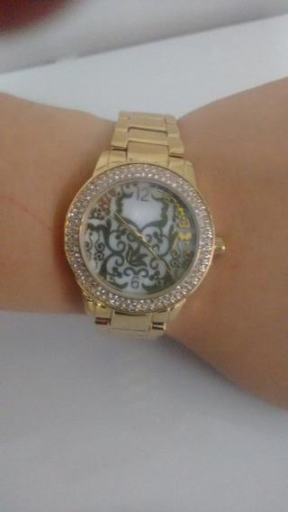 Relógio Da Avon Feminino Com Strass Dourado