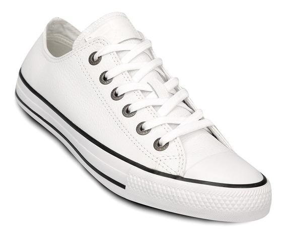 Zapatillas Converse Negro Cuero 157002c Blanco 157003c
