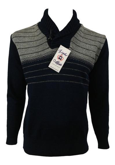 Suéter Azul Marino Y Gris Con Cuello Nórdico