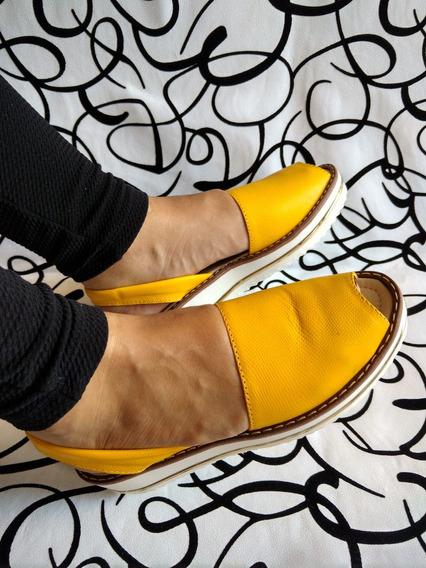 Sandalia Cocuiza Para Señora En Cuero Amarillo Envio Gratis