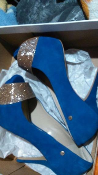 Salto Peep Toe Azul Com Brilho, Marca Wj - Nº39