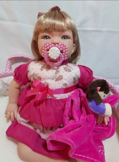 Boneca Tipo Reborn Bebê Realista Loira + Kit 8 Acessórios
