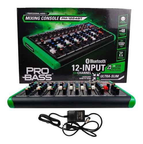 Mesa De Som Probass Pm-1224 Efeito Usb Bluetooth 8 Canais