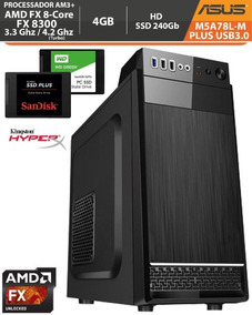 Pc Asus M5a78l-m Usb3 Plus Amd Fx-8300 3.3ghz 4gb Ssd 240gb