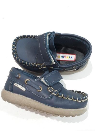 Zapatos Naúticos Cuero Abrojo Titanitos Azul Ó Beige Nenes